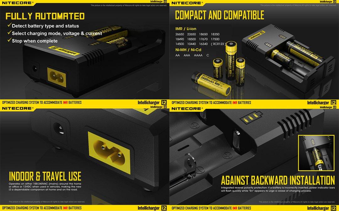 Bundle - 5 Items: NiteCore EC4S 2150 Lumens CREE XHP50 LED Flashlight with 2x Nitecore 18650 Rechargeable Batteries, Nitecore i2 Smart Charger and LumenTac Battery Organizer by Nitecore (Image #7)