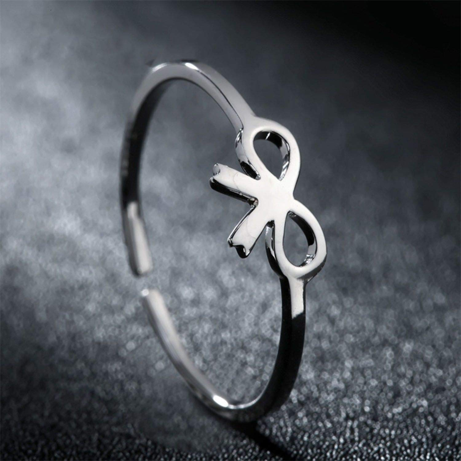 ihuoshang 925 Sterling Silver Ring for Women White Gold Gift Bow Knot Cuff Ring Simple Jewelry
