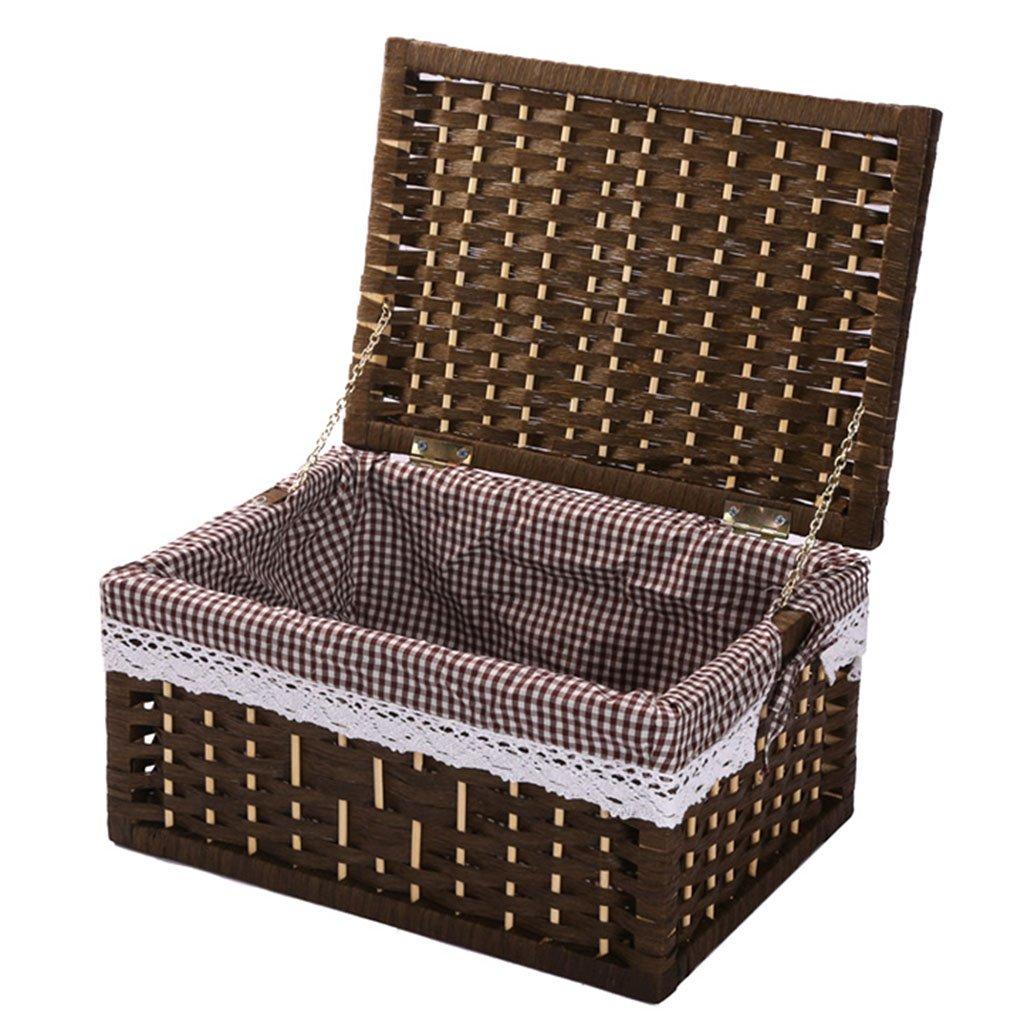 Storage Basket, Storage Basket With Lid, Rattan Desktop Storage Box, Toy Dirty Clothes Storage Box (Size : Medium)