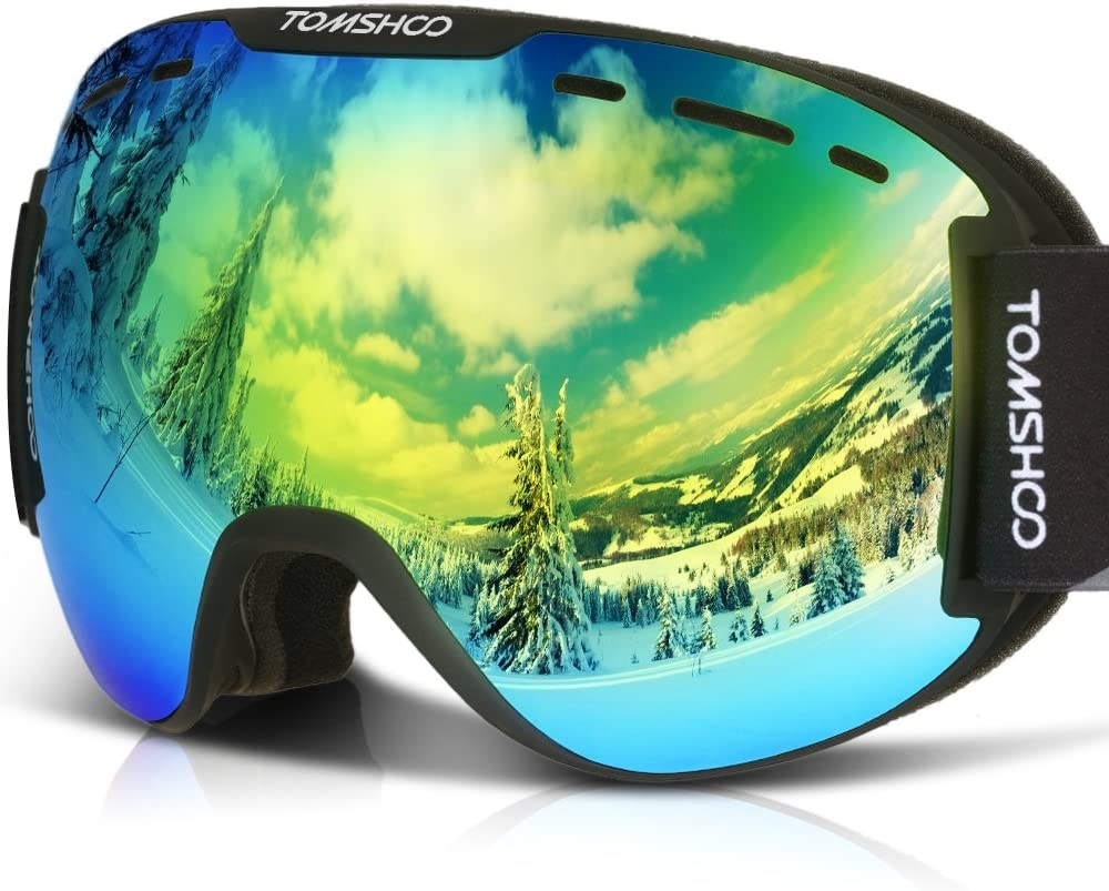 TOMSHOO Ski Goggles Windproof Snow Goggles Fit Over Glasses, Anti-Fog UV Protection Non-Slip Strap Ski Snowboard Goggles for Men, Women and Youth Girls Boys