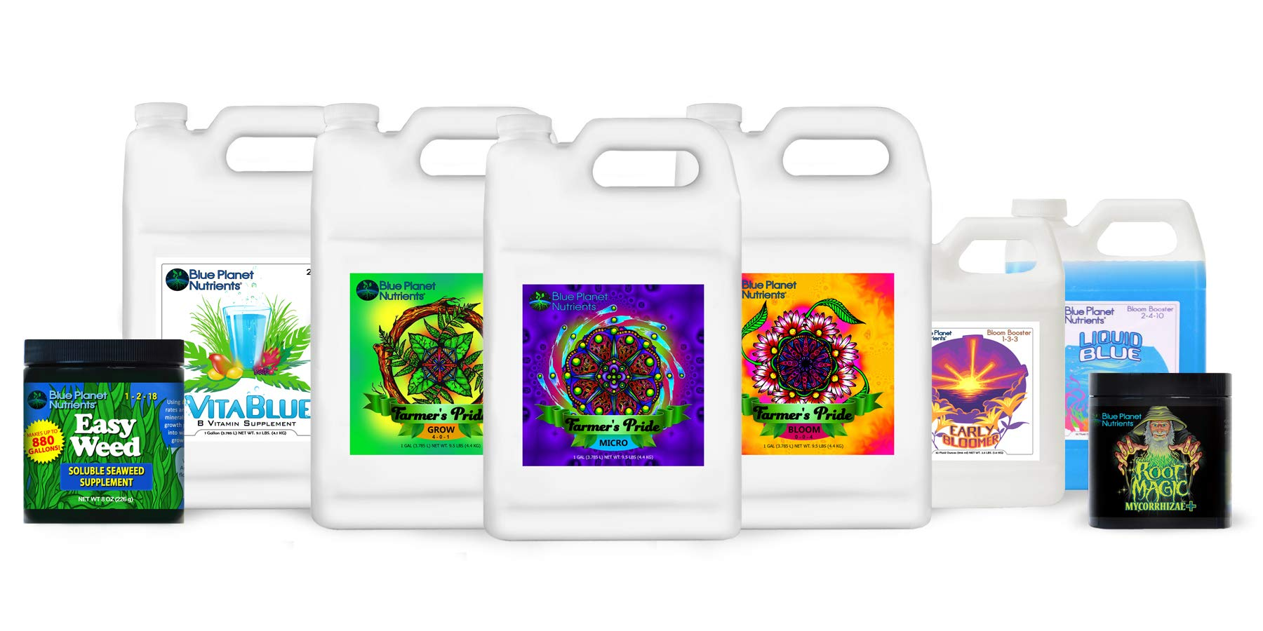 Blue Planet Nutrients Farmer's Pride Organic Blend High Yield System | Grow Herbs Vegetables Fruits Flowers | Hydroponic Soil Coco Coir Soil-Less | Complete Kit Bundle for All Plants & Gardens by Blue Planet Nutrients
