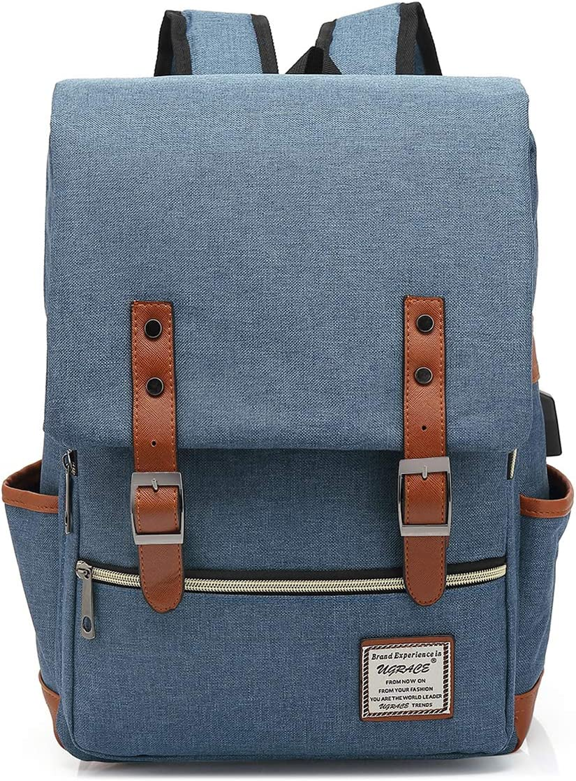 UGRACE Vintage Laptop Backpack Slim Travelling Backpacks College School Bag with USB Charging Port for Men Women, Blue