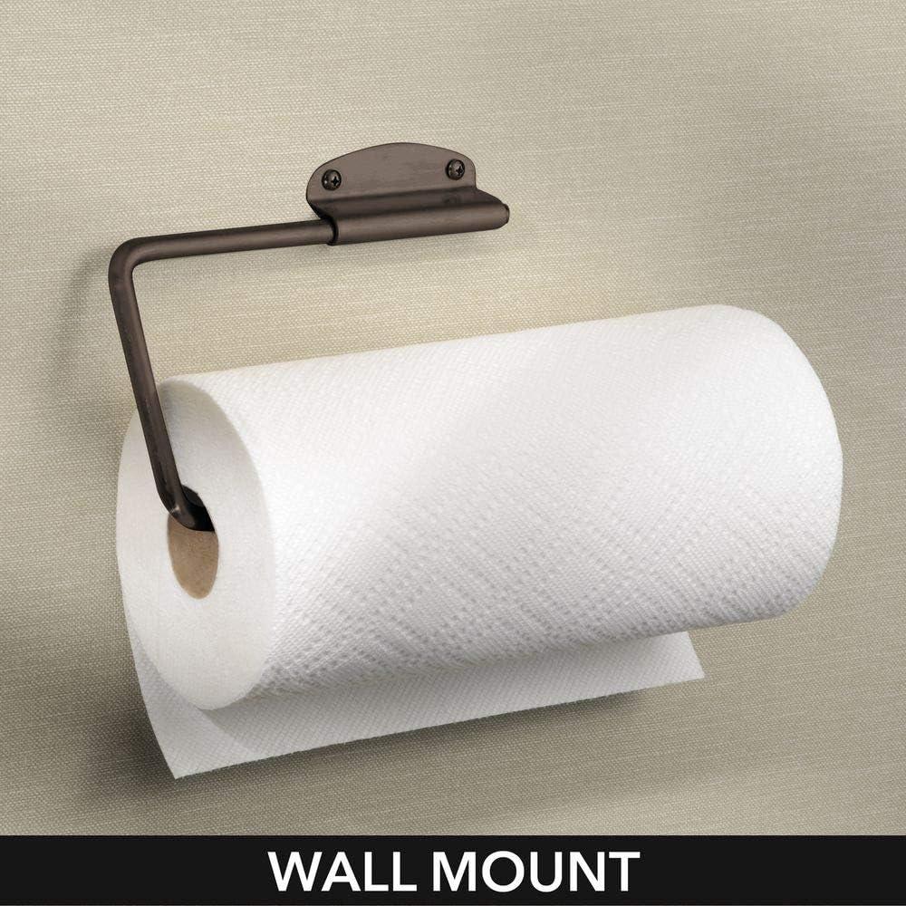 Portarrollos de pared o armarios de f/ácil montaje plateado Pr/áctico y compacto soporte para papel de cocina trapos y toallas mDesign Portarrollos de cocina