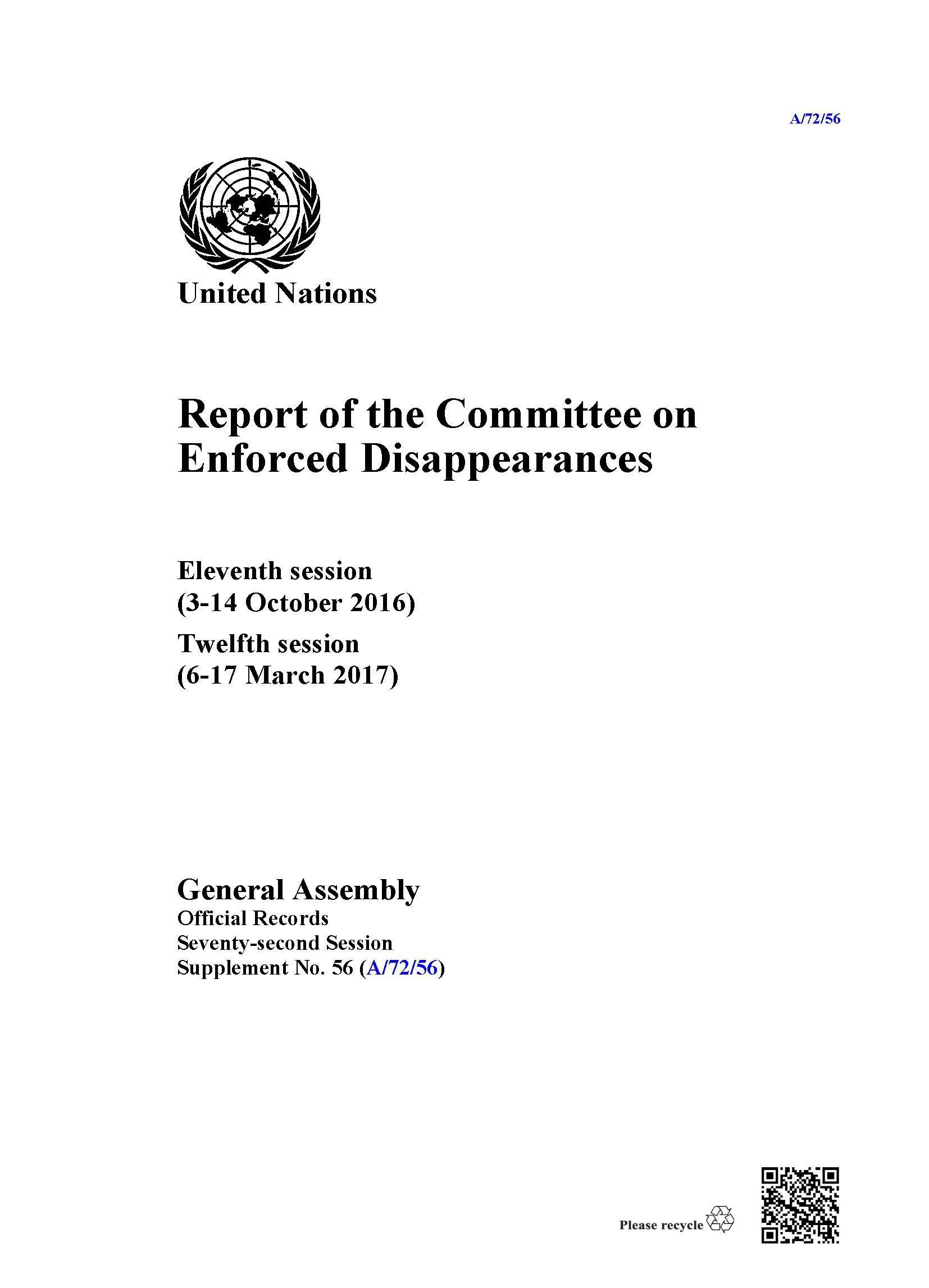 Report of the Committee on Enforced Disappearances: Eleventh session (3-14 October 2016) Twelfth session (6-17 March 2017) pdf epub