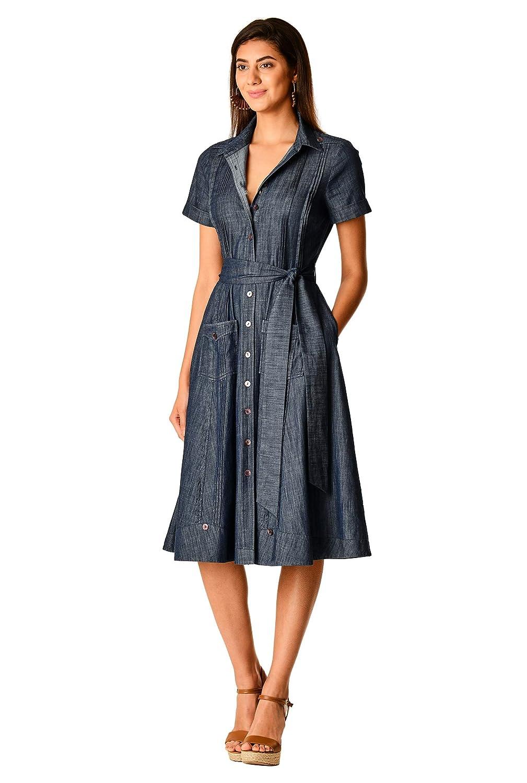 eShakti Pintuck Camisa de algodón para Mujer Indigo Chambray 32 ES ...