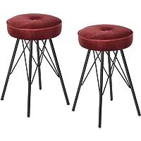 Ihouse - Lot de 2chaises avec coussin d'assise rond en velours - Tabouret avec cadre en métal - Tabouret pour cuisine, bureau, conférence, table de salon bordeaux