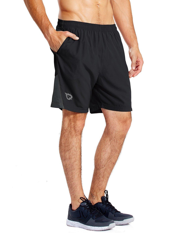 BALEAF Men's 7 Inches Quick Dry Workout Running Shorts Mesh Liner Zip Pockets Black Size S