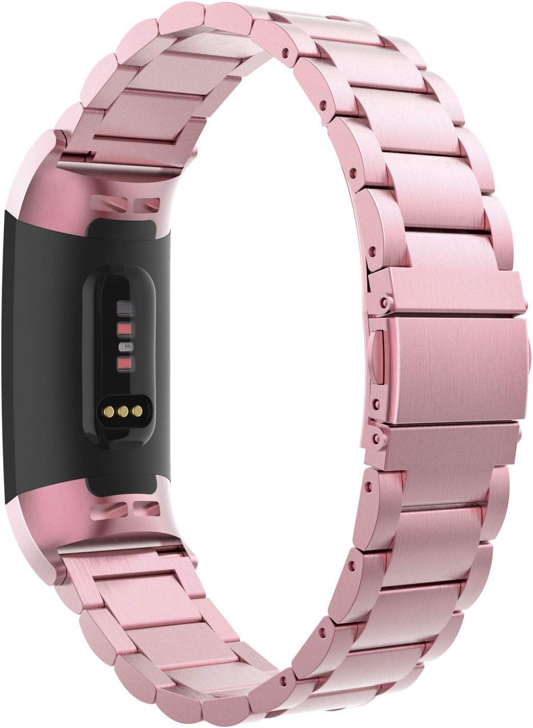 MoKo Compatible con Fitbit Charge 3/Charge 4 Reloj Correa, Pulsera del Metal del Acero Inoxidable, Reemplazable con Doble Botones Plegable - Rosa Rosa