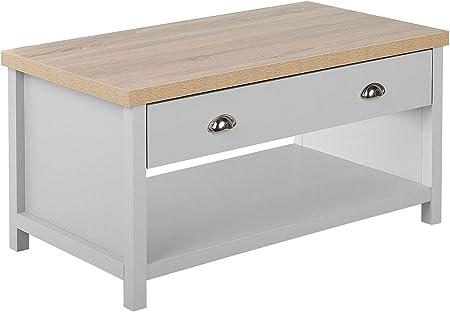 Beliani Modern Coffee Table Grey With Light Wood Drawers Storage