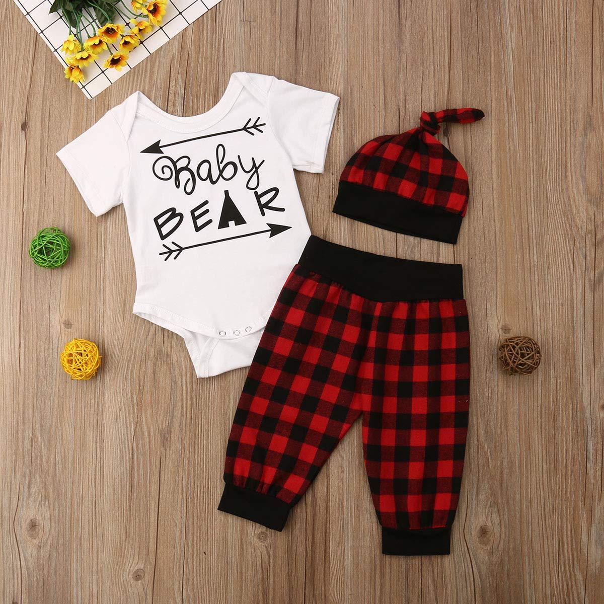 Honganda 3Pcs Newborn Infant Baby Girl Boy Baby Bear Romper Bodysuit+Plaid Pants+Hat Outfit Set
