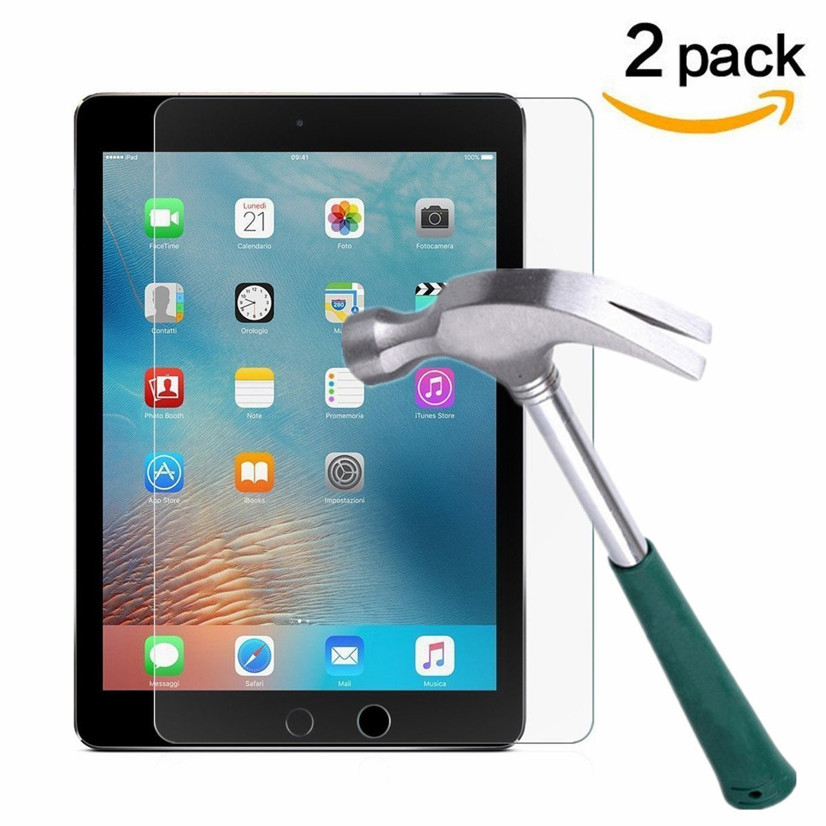 iPad 9.7'' (2017) / iPad Pro 9.7 / iPad Air 2 / iPad Air Screen Protector [2-Pack],TANTEK Tempered Glass Screen Protector- Apple Pencil Compatible / 2.5D Round Edge / Scratch Resistant