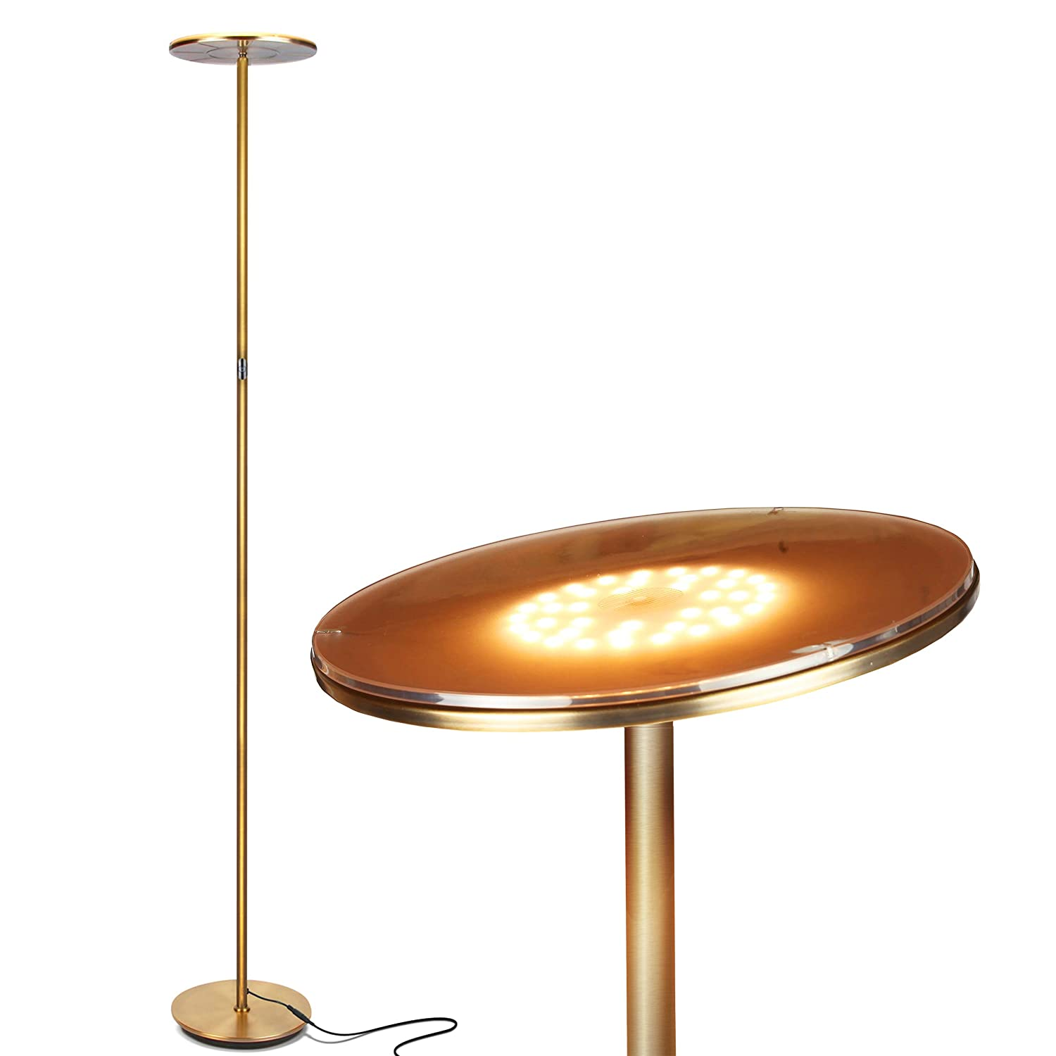 Brightech Sky Flux - Modern LED Torchiere Floor Lamp for Living Rooms & Bedrooms - Adjustable Warm to Cool White - Tall Pole, Standing Office Light - Bright, Minimalist & Contemporary Uplight - Brass