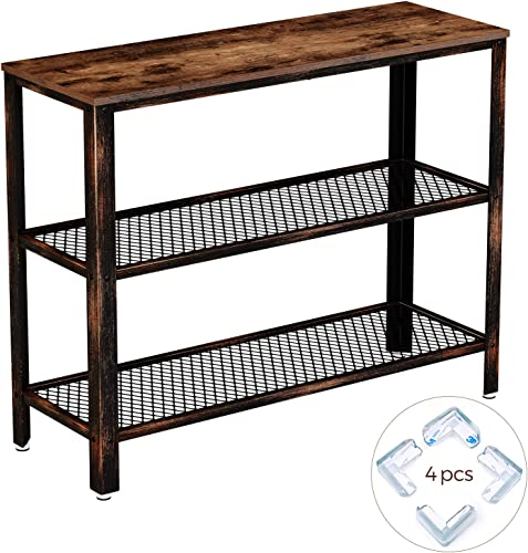 Rolanstar Console Table, Rustic Sofa Table with 2 Mesh Shelves, Entryway Table with Retro Metal Frame, for Entryway Living Room, ST001-B