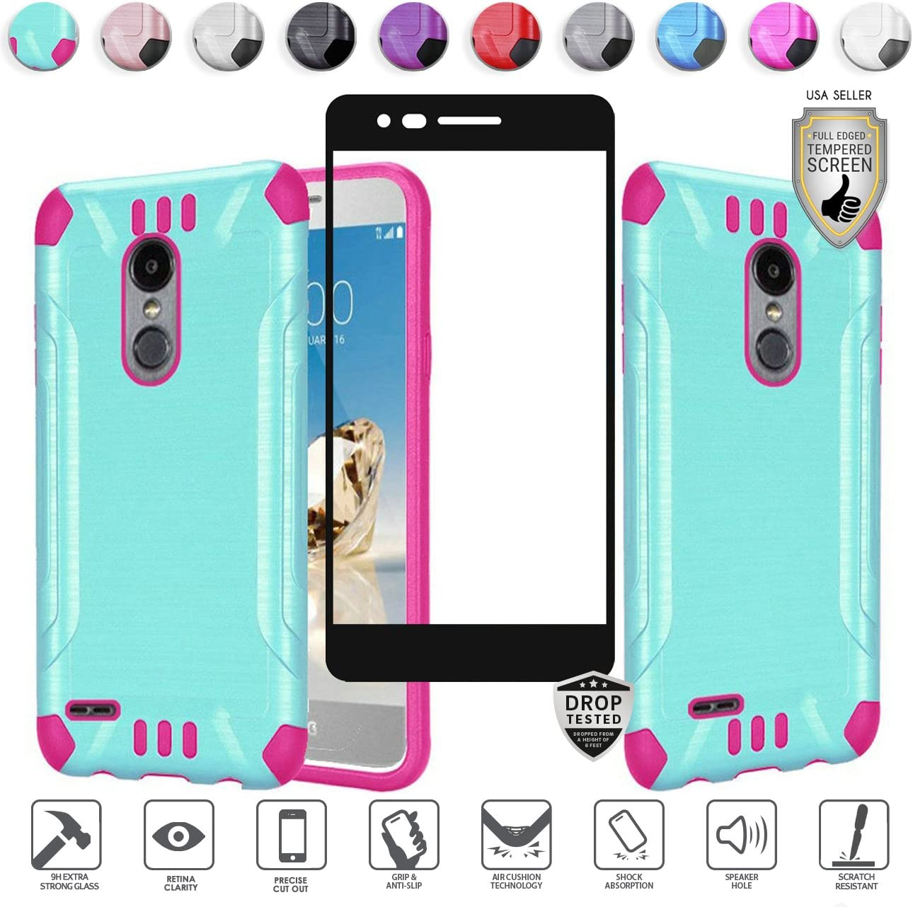 Compatible for LG Aristo 3 Plus/3/2,Fortune 2,K8,Phoenix 4,Rebel 3/4,Risio 3,Tribute Empire, Zone 4 Case with Tempered Glass, Heavy Duty [Shock Proof] Hybrid (Teal/Hot Pink)