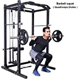 Gymax Fitness Power Cage Rack w/ Lat Pull Attachment Heavy Duty Squat Cage Equipment for Home Gyms