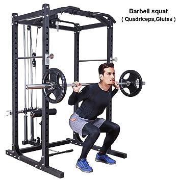 GYMAX Fitness Poder Jaula Rack w/lat Pull fijación Resistente ...