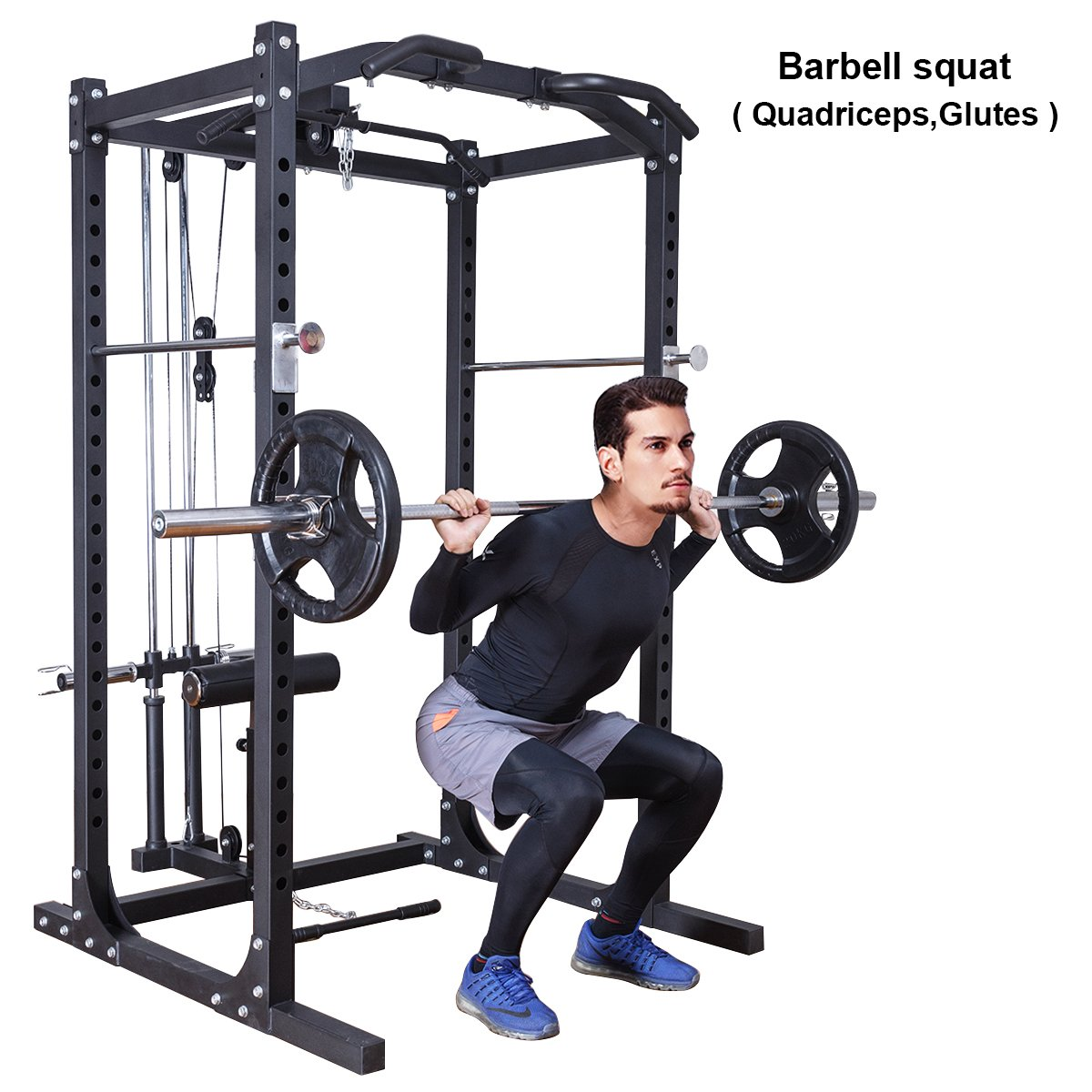 Gymax Fitness Power Cage Rack w/ Lat Pull Attachment Heavy Duty Squat Cage Equipment for Home Gyms by Gymax