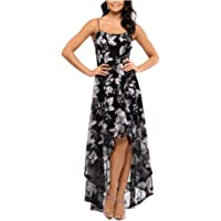XSCAPE Womens Black Embroidered Floral Spaghetti Strap Scoop Neck Above The Knee Hi-Lo Evening Dress AU Size:12