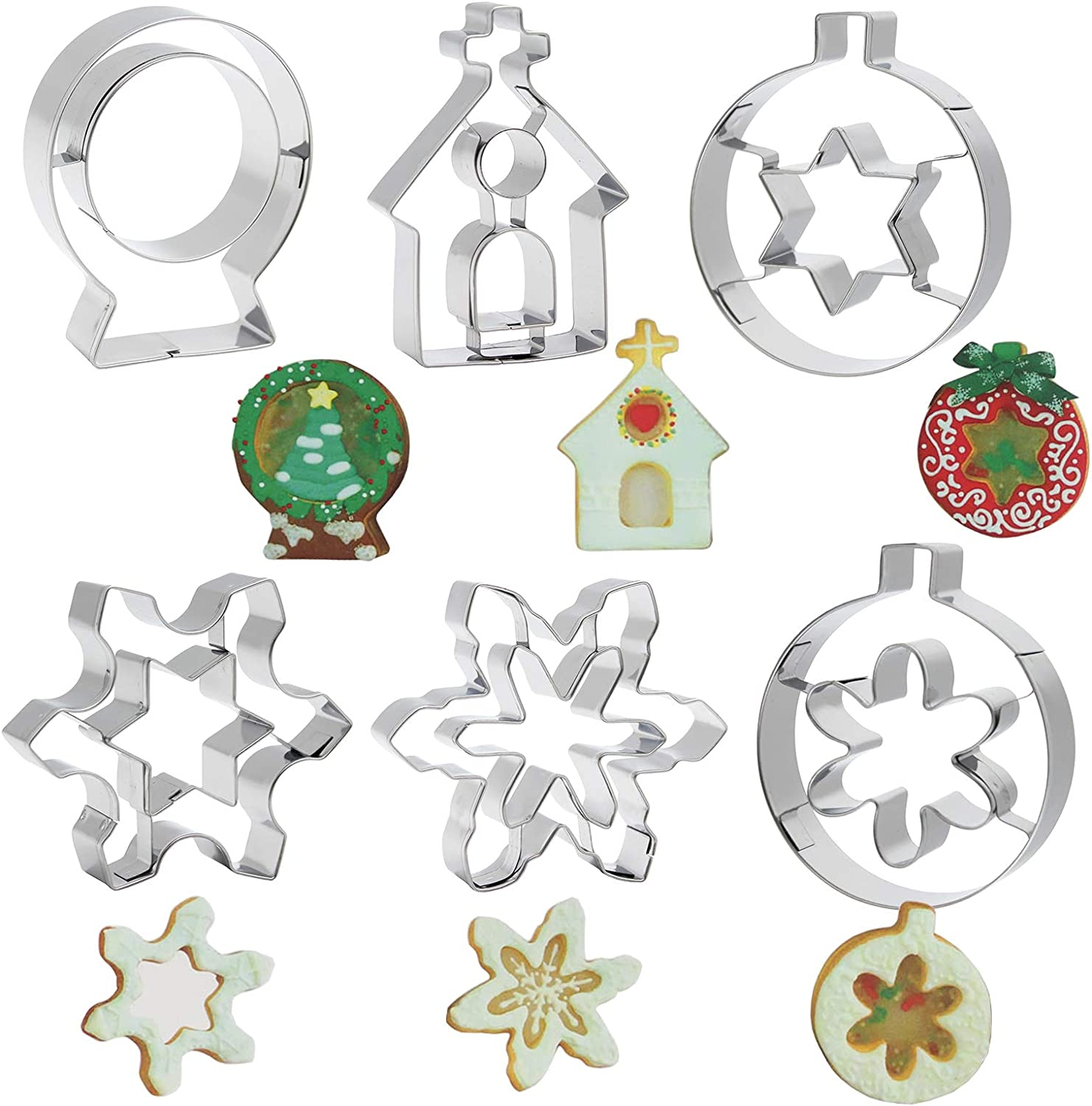 Mziart Christmas Cookie Cutter Set of 6, Stainless Steel Metal Holiday DIY Cookie Mold, Snowflake, Star, House Shapes for Home Cooking and Party Decorations