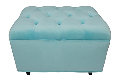 Astounding Fun Furnishings Tres Chic Ottoman Aqua Tiffany Machost Co Dining Chair Design Ideas Machostcouk