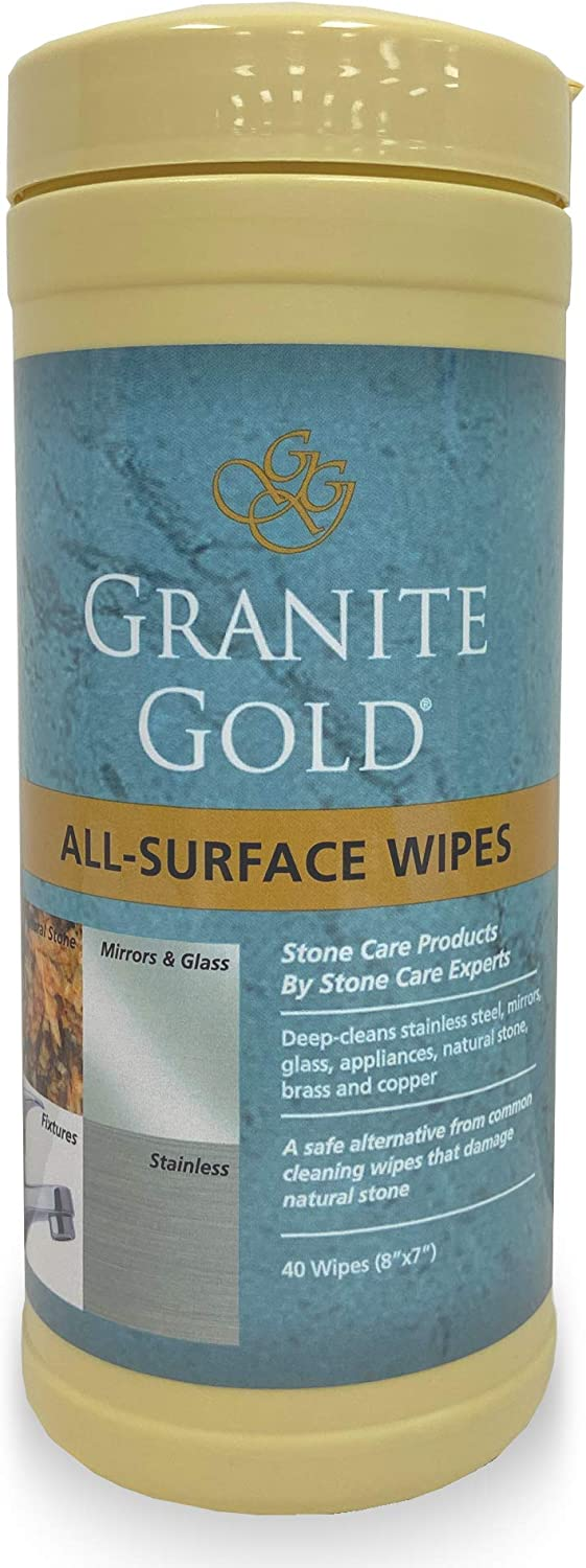 Granite Gold All-Surface Cleaner Wipes Household Streak-Free Cleaning for Stainless Steel, Glass, Granite, Quartz, Marble Countertops-Made in the USA, 40 count, 40 Count: Health & Personal Care
