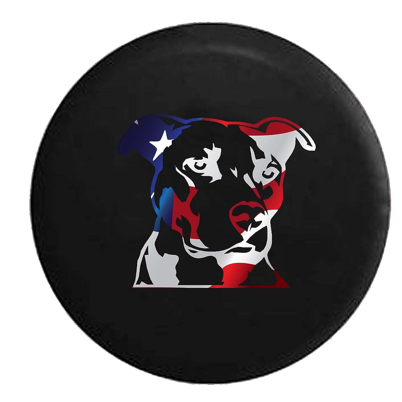 Orange Pitbull Terrier Staffy Dog Lover K9 Jeep Woof Spare Tire Cover Vinyl Black 35 in
