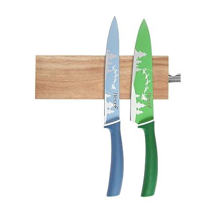 Hecef Porte Couteau Magnetique De 6 Pouces Barre Aimantee A Couteaux En Bois D Acacia Porte Couteau Magnetique Stocker Les Ustensiles De Cuisine