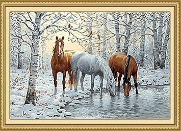 Kit für Erwachsene und Anfänger Weihnachtsdekor 40,6 x 50,8 cm Zeichnung mit Bürsten Ölfarbbild zum Selbstkolorieren nach Zahlen Geschenke Frame Dekoration drei Pferde auf Schnee