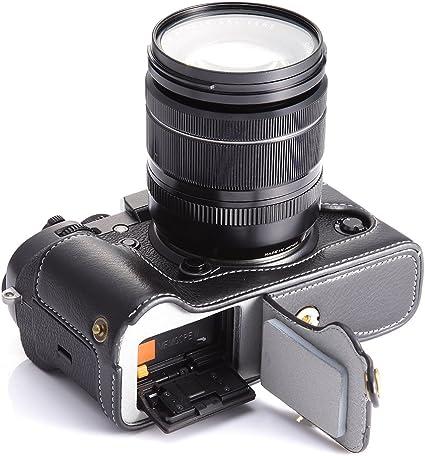 Cuero Hecha a Mano Medio caso bolsa para Fujifilm FUJI XT2 X-T2 Cámara Negro Marrón