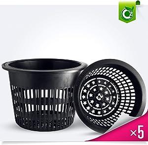 8 inch Net Pots Heavy Duty Round Cups Wide Rim Design - Orchids • Aquaponics • Aquaculture • Hydroponics Slotted Mesh (Cz Garden All Star 5 Pack Black)