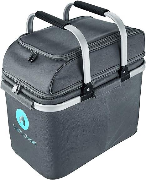 Bolsa para picnic grande con bolsa térmica de 30 litros para camping, picnic, barbacoa, plegable | Cesta de picnic para 4 personas con compartimento ...