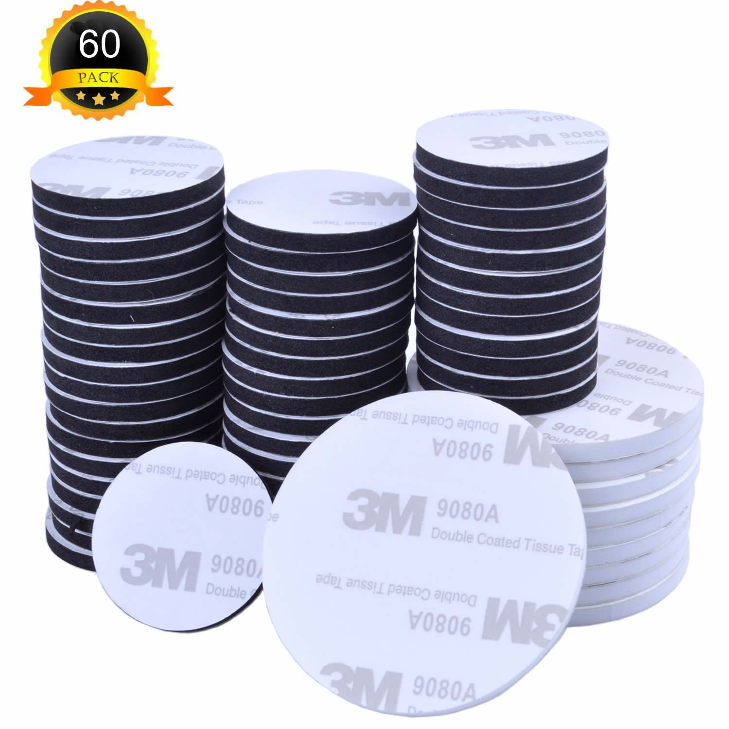enhuton 60 Pcs Sticky Foam Tapes Double Sided Round Circles Pads Dia 30mm/50mm Black and White euhuton