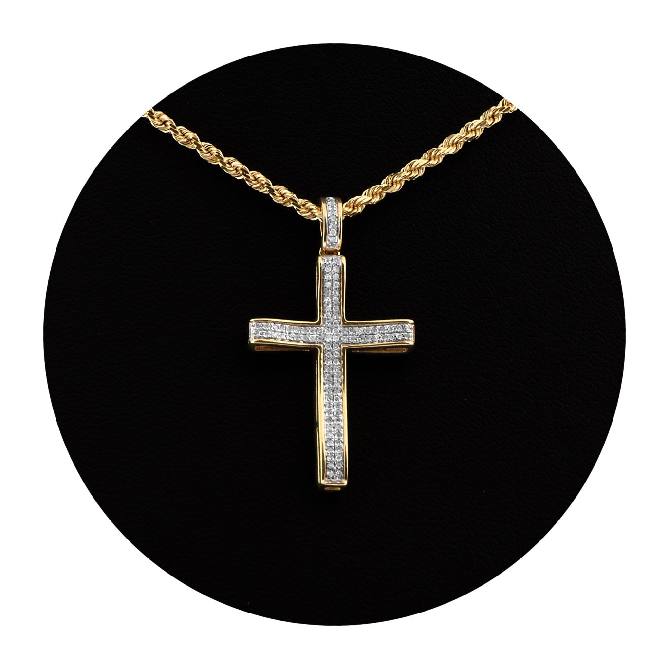 MR. BLING 10K Yellow Gold 0.20 Carats (ctw) Diamond Cross Pendant (1.28'' x 0.70'')