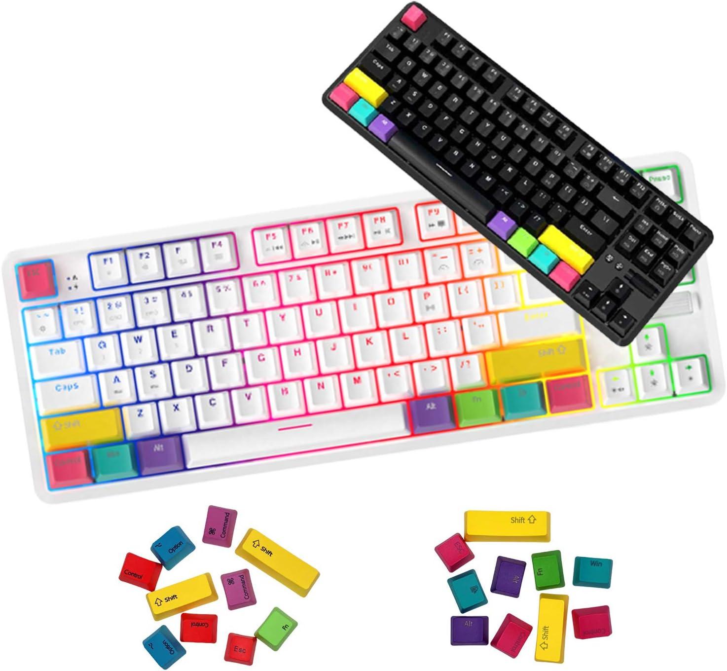 [KORDO] Ajazz K870T 87Keys Bluetooth Wired/Wireless Mac/MacBook Mechanical Keyboard with Additional Keycaps for Mac/Window, Type-C Cable. (Black, Blue Switch)