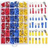 Qibaok 840PCS Electrical Wire Connectors, Insulated Wire Crimp Terminals, Mixed Butt Ring Fork Spade Bullet Quick Disconnect