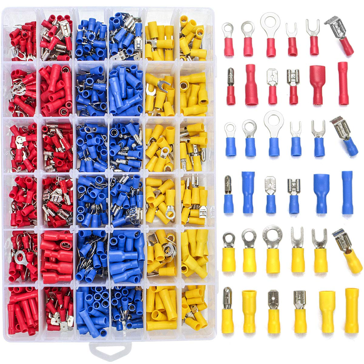 Qibaok 840PCS Electrical Wire Connectors, Insulated Wire Crimp Terminals, Mixed Butt Ring Fork Spade Bullet Quick Disconnect Assortment Kit by Qibaok