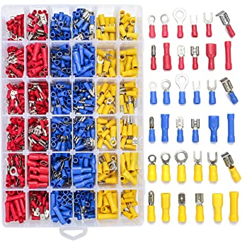 84 pc Assorted Insulated Electrical Wire Terminal Crimp Connector Spade Set Kit