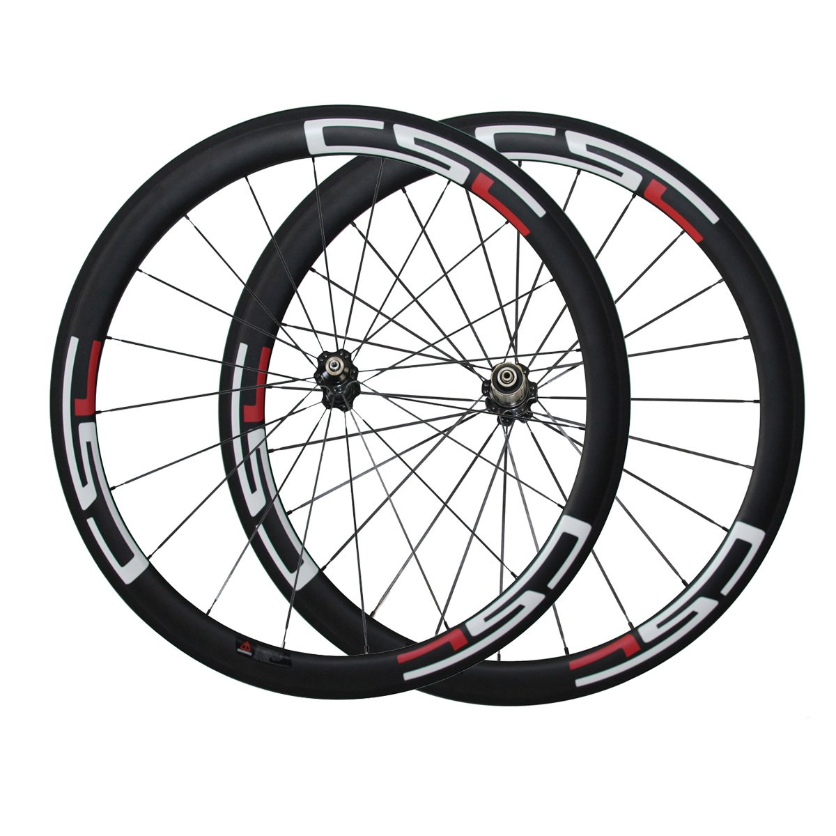 Amazon com csc 50mm clincher carbon fiber road bike wheels 3k matte with decals red and white decal sports outdoors