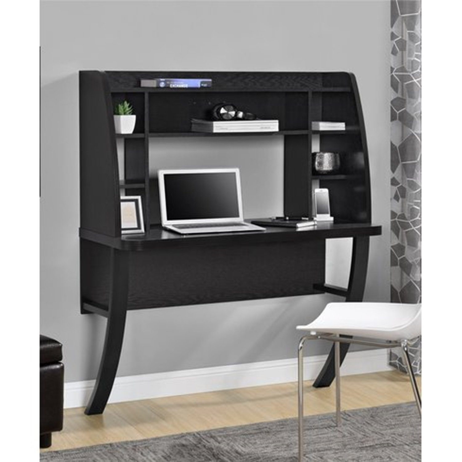 Wade Logan Howard Floating Desk With Hutch (Black) Amazonca Home