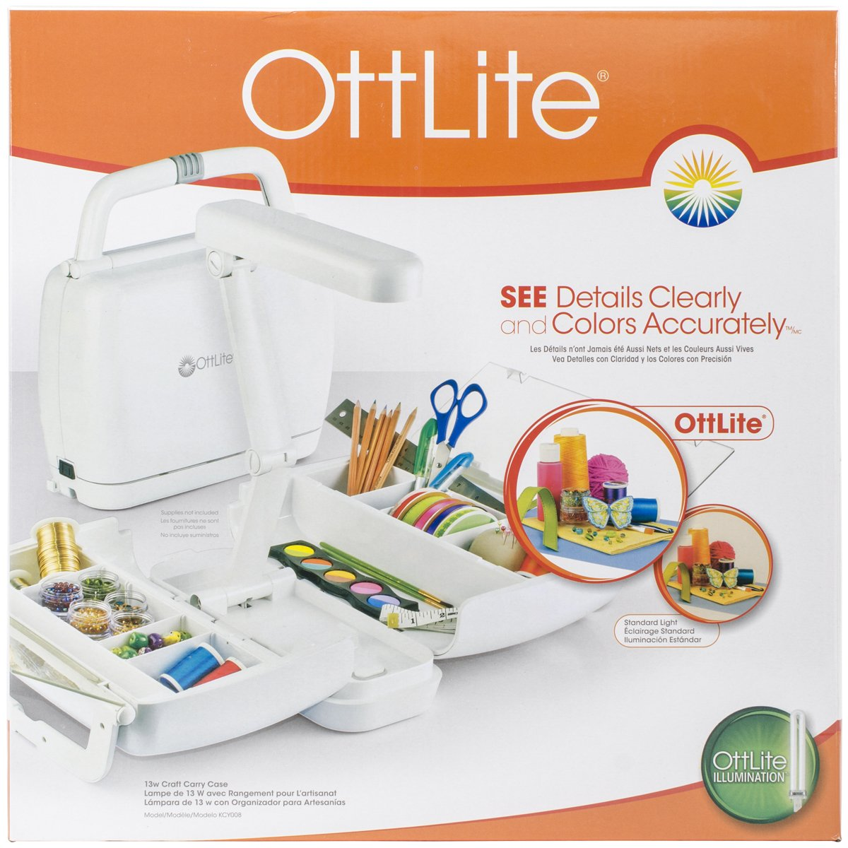 OttLite Craft Carrying Case with Lamp, White