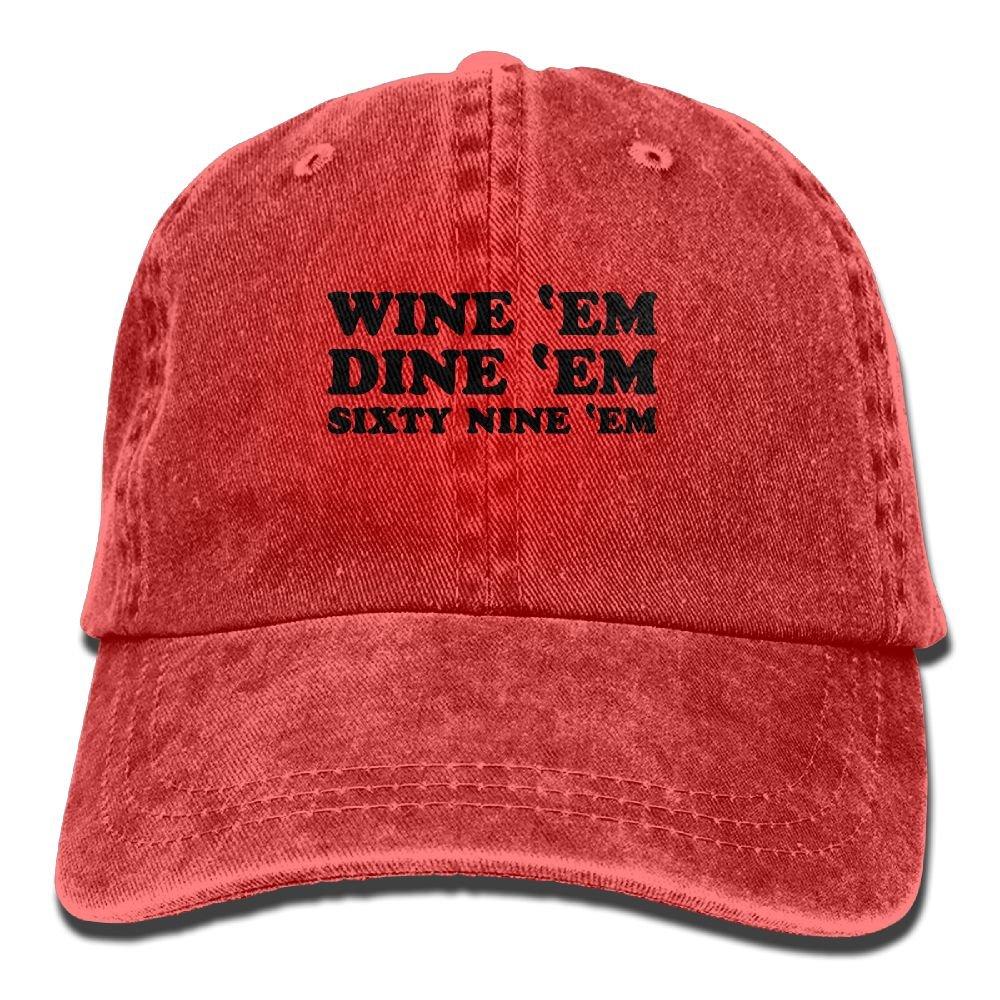 86696d148e2a3 Wine  Em Dine  Em Sixty Nine  Em Unisex Adult Adjustable Gym Dad Cap at  Amazon Men s Clothing store