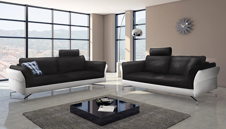 SAM® Design Sofa Garnitur Vivano 2 + 3 Sitzer in schwarz weiß stilvolle Couchgarnitur pflegeleichte Oberfläche Kopfstütze optional anbringbar Aluminiumfüße bequeme Polsterung Lieferung per Spedition