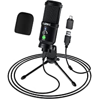 USB Microphone for Computer, FURINE Type-C Plug & Play Noise Reduction Podcast Microphone with Gain Knob for PC MacBook…