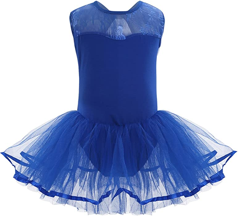 11785a5e0ed5 dPois Girls Ballet Dance Tutu Dress Leotard Skirt Princess Costume  Gymnastics Jumpsuit Dresses Blue 3-4 Years: Amazon.co.uk: Clothing