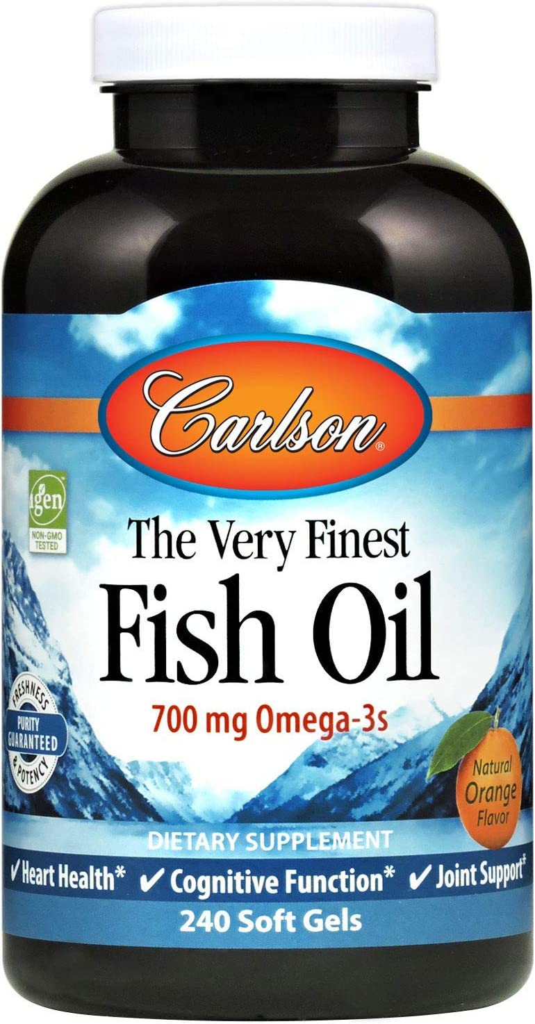 Carlson - The Very Finest Fish Oil, 700 mg Omega-3s, Norwegian, Wild-Caught Fish Oil, Sustainably Sourced Fish Oil Capsules, Orange, 240 Softgels