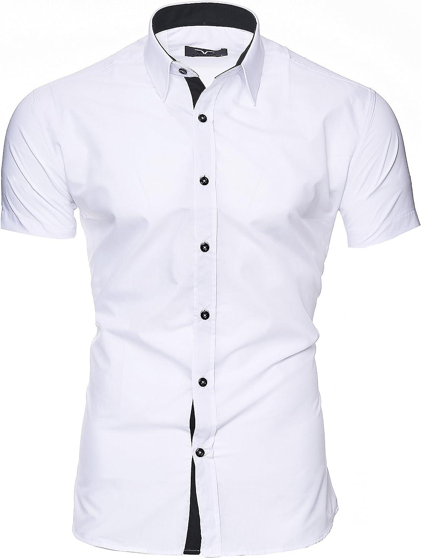 Kayhan Hombre Camisa Manga Corta Slim Fit S M L XL 2XL - Modello Florida + Maimi