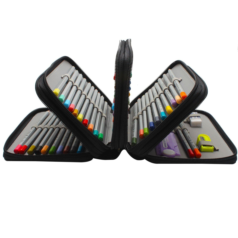 Niutop 72 PU Leder Buntstifte Federmäppchen Mit Reißverschluss Großer Kapazität Bleistiftkasten Stationary Pouch Makeup Case Kosmetiktasche (Schwarz)