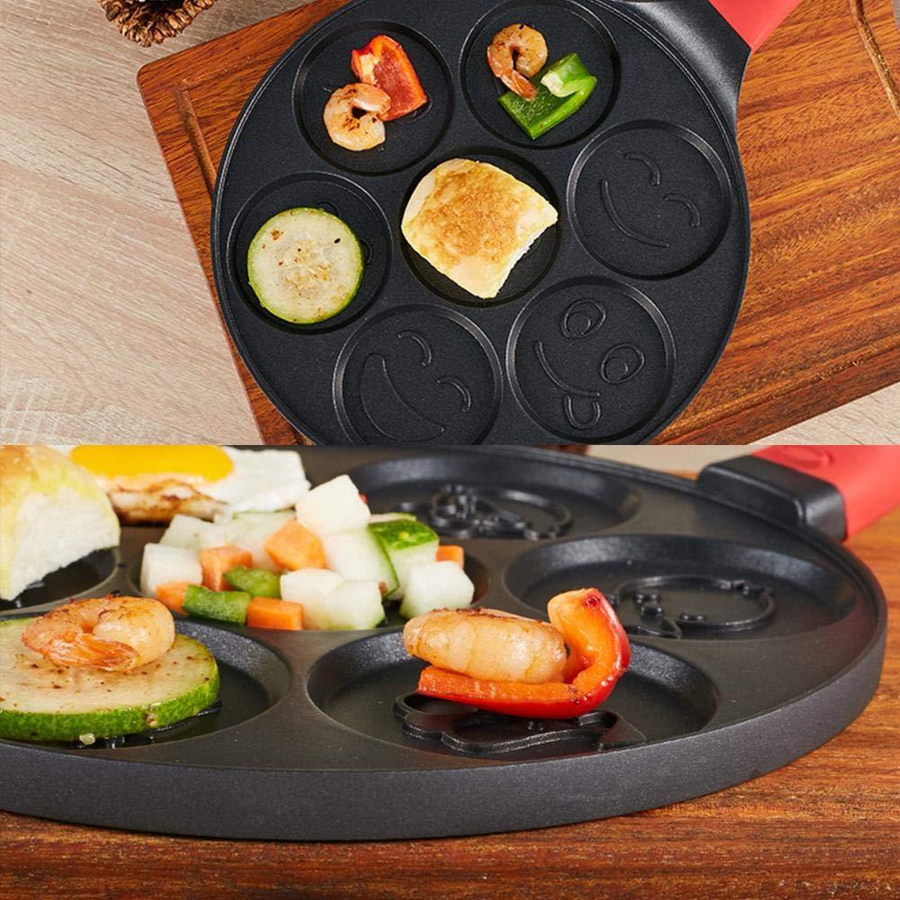 Classique Smiley Mini Pancake Pot Po/êle /à Omelette en Alliage daluminium de qualit/é Alimentaire Double Couche Rev/êtement antiadh/ésif Noir 26/cm Coseyil antiadh/ésive Pancake Pot