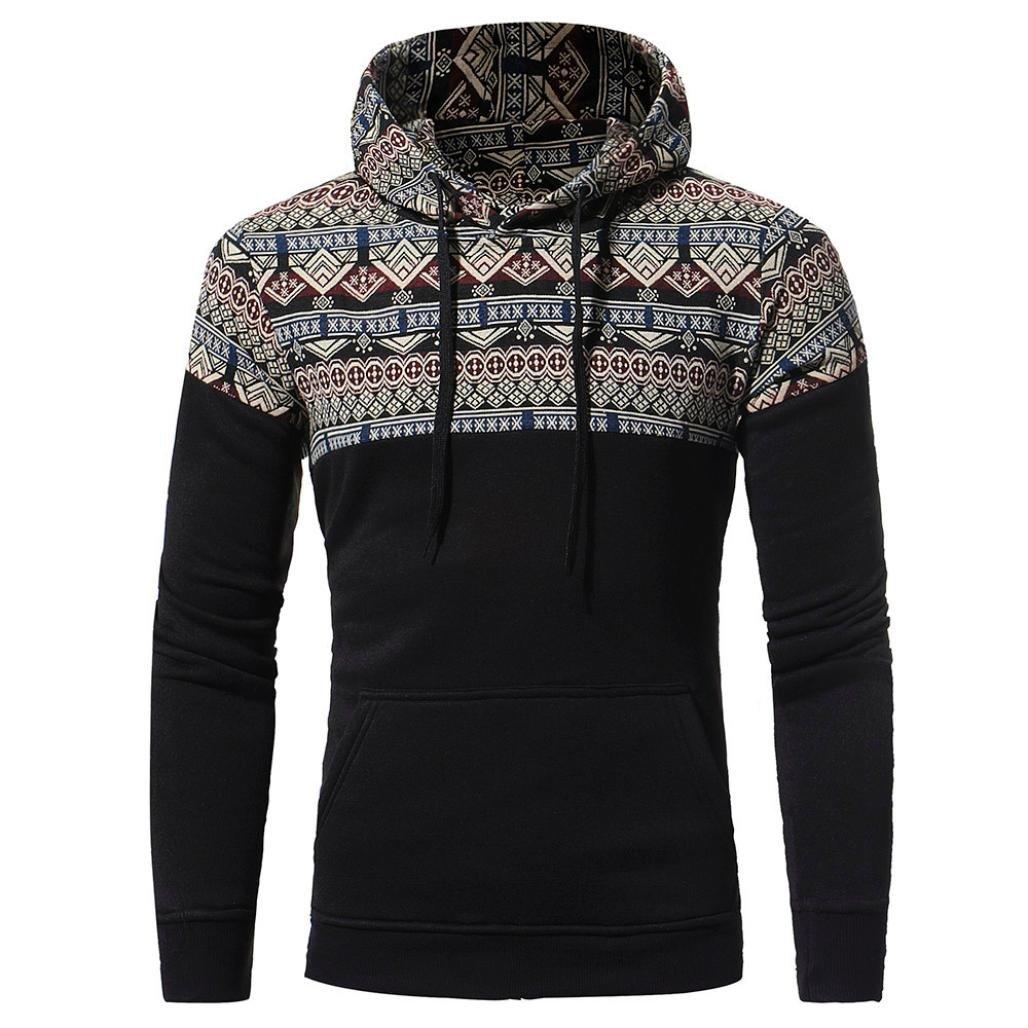 WM & MW Hot Top Men's Hoodies Long Sleeve Patchwork Retro Print Hooded Sweatshirt PUllover Tops Jacket Coat (L=(US:M), Black)