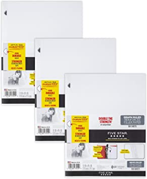 3 Hole Punched Loose Leaf Paper 11 x 8-1//2 inches Reinforced Filler Paper Graph Ruled 3 Pack 100 Sheets//Pack